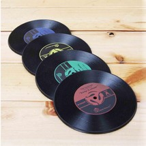 2Pcs Round CD Records Shape Non-slip Cup Coasters Holder Mat Silicone Pl... - £0.94 GBP