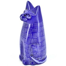 Vaneal Group Hand Carved Kisii Soapstone Dark Blue Sitting Kitty Cat Figurine image 2