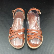 American Eagle Sandals Flats Brown Size 8 1/2 Buckle Ankle Strap Slip On - $22.72