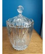 Vintage Large Block Wyndham Lead Crystal Biscuit Barrel Cookie Jar  - $49.45
