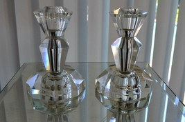 Impressive Heavy Crystal PAIR Candlesticks Candle Holders  - $35.10