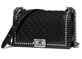 BNIB AUTHENTIC 2019 CHANEL BLACK Limited Edition Leather Medium Boy Flap... - $6,199.99