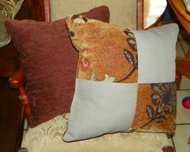 Pair of Tan Plum Flower Print Patchwork Print Throw Pillows  18 x 18 - $49.95