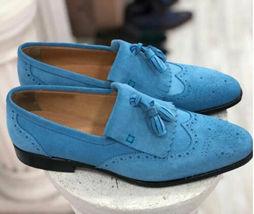 Handmade Men's Genuine Blue Suede Tassel Loafers Wingtip Shoes - $144.99