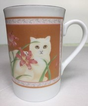 Otagiri Elizabeth King Coffee Mug White Persian Cat Pink Orchid Price fo... - $18.99