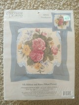 Candamar Designs Needlepoint Kit Silk Ribbon Roses Pillow Picture Pink Blue New - $17.13