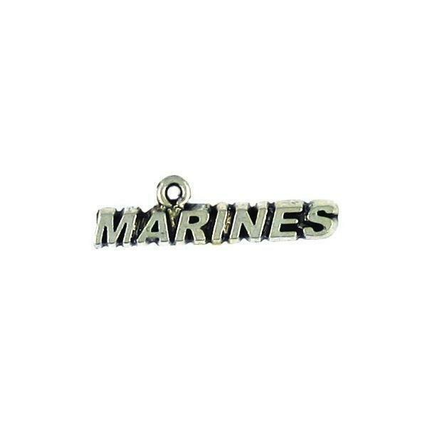 Marines Word Fine Pewter Cast Charm - 2x8x30mm