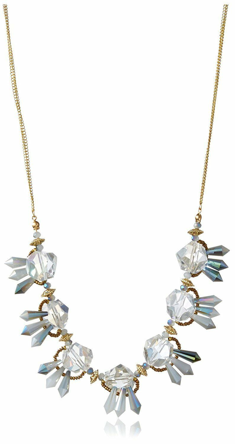 NEW Leslie Danzis Gold Plated Faceted Tulip Beaded Crystal Necklace