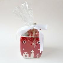 Yankee Candle Christmas Tart Wax Warmer Burner Gift Set Ceramic Red White - $16.99
