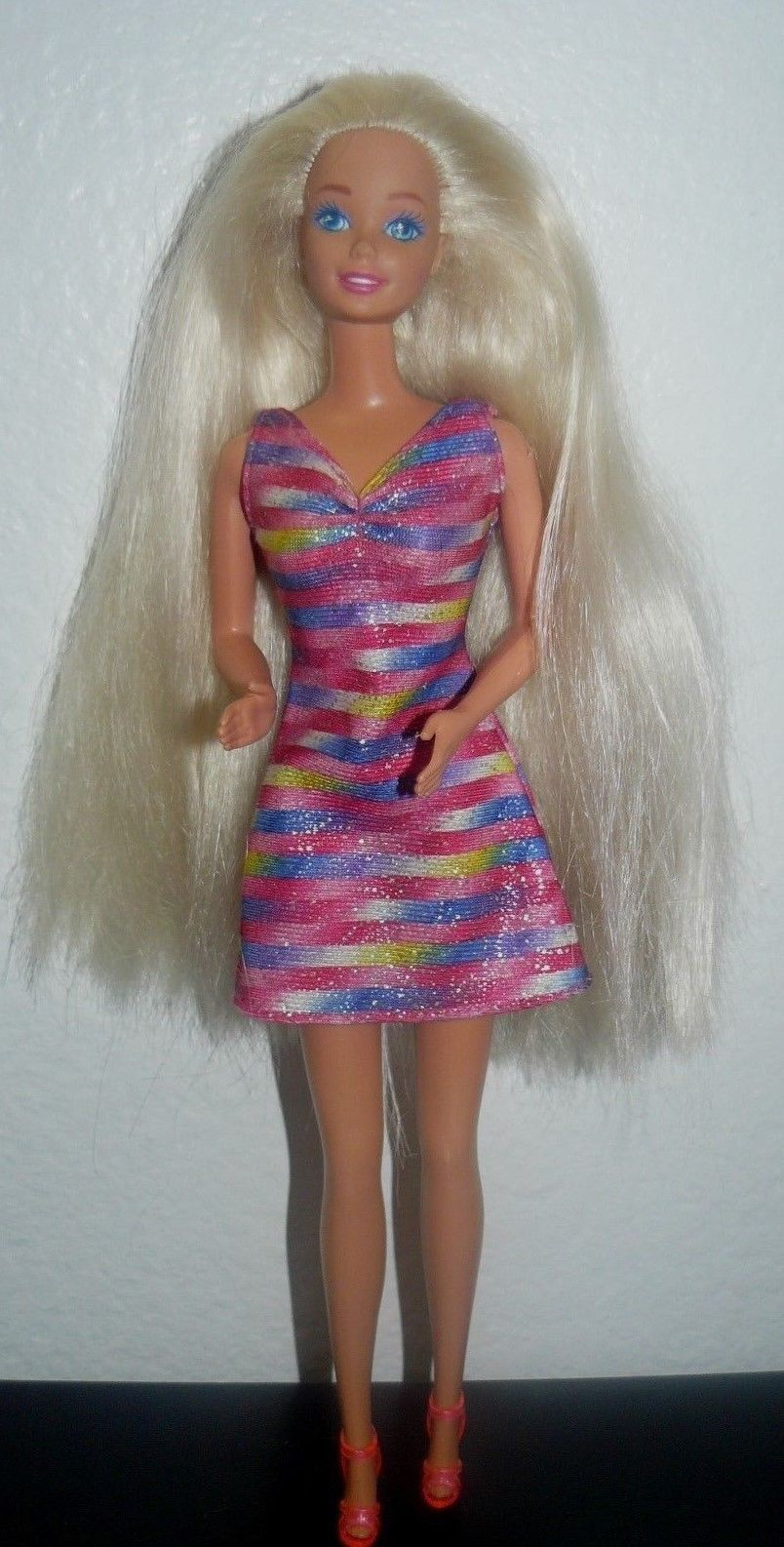 c27a54c0ebd7 S l1600. S l1600. Previous. Mattel 1980 s Blue eyes Long Blonde Barbie Doll  in stripes dress and shoes