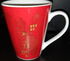 2014 Starbucks Holiday Mug - Red and Gold Abstract Christmas Trees 12oz - $13.55