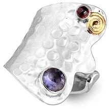 Sterling Silver Ring 925 Amethyst Gemstone Genuine Long Spiral Adjustabl... - $22.42