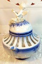 VINTAGE ORNATE BLUE AND WHITE CHERUB ON SPAGHETTI CLOUD  POTPOURRI URN image 9