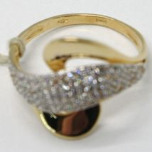 SOLID 18K YELLOW GOLD BAND ZIRCONIA RING, ONDULATE, WAVE, WOVEN, MADE IN ITALY image 5