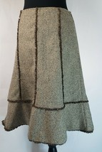 Ann Taylor LOFT Silk Wool Brown Herringbone Tweed A-Line Skirt Womens Si... - $33.65