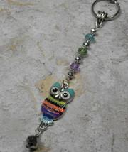 Owl Crystal Beaded Handmade Keychain Split Key Ring Blue Green Purple - $14.83