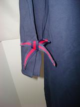 New Womens Talbots Dress L Sheath Navy Blue Red Bow Sleeves Slit Cotton ... - $112.00