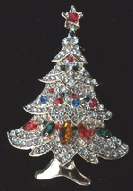 MULTI TIERED RHINESTONE CHRISTMAS TREE BROOCH PIN - $14.99