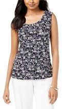 JM Collection Soft Knit Stretch Printed Jacquard Sleeveless Blouse NWT S - $19.19