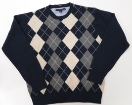 Tommy Hilfiger Lambs Wool Mens Argyle Diamond Blue Grey Pullover Sweater... - €21,41 EUR