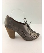Lucky Brand Womens LK Peony Booties Shoes 8 Pewter Leather Open Toe Lase... - $39.59
