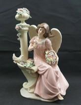 Large heavy porcelain figurine girl angel n dove n column flower fountai... - $90.00