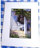 Wicker Chair Porch Wisteria Watercolor Print Barbara Fox Matted 1992 Vic... - $28.00