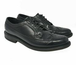 FLORSHEIM Men's Sz 11D Black Leather Lace Up Oxford Wingtip Brogue Dress Shoes - $39.99