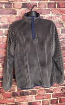 Lands' End Polartec 3/4 Button Pullover - Brown and Navy - Size L - $14.54