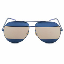 NEW CHRISTIAN DIOR SPLIT 1 Navy Blue/Gold Mirrored Metal Aviator Sunglasses - $213.82