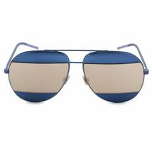 NEW CHRISTIAN DIOR SPLIT 1 Navy Blue/Gold Mirrored Metal Aviator Sunglasses - $213.82