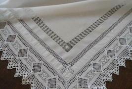 Antique Heirloom Filet Crochet Lace Tablecloth Tenerife Needlelace Embro... - $55.78