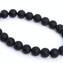 23 Pcs - 8mm Matte Black Agate Beads Bracelet Grade AAA Genuine Natural ... - $18.79