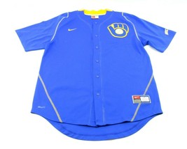 Nike Fit Dry Team Blank Retro Milwaukee Brewers Jersey Mens M Blue Yellow - $29.65