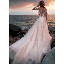 Illusive Lace V- Neck Long Sleeve Wedding Dress Button Backless Lace Ball Weddin image 3