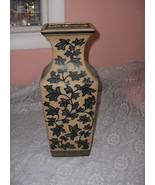 Vintage Tall Ceramic Taupe Vase Sandstone Finish Painted Leaves Greek Ke... - $74.25
