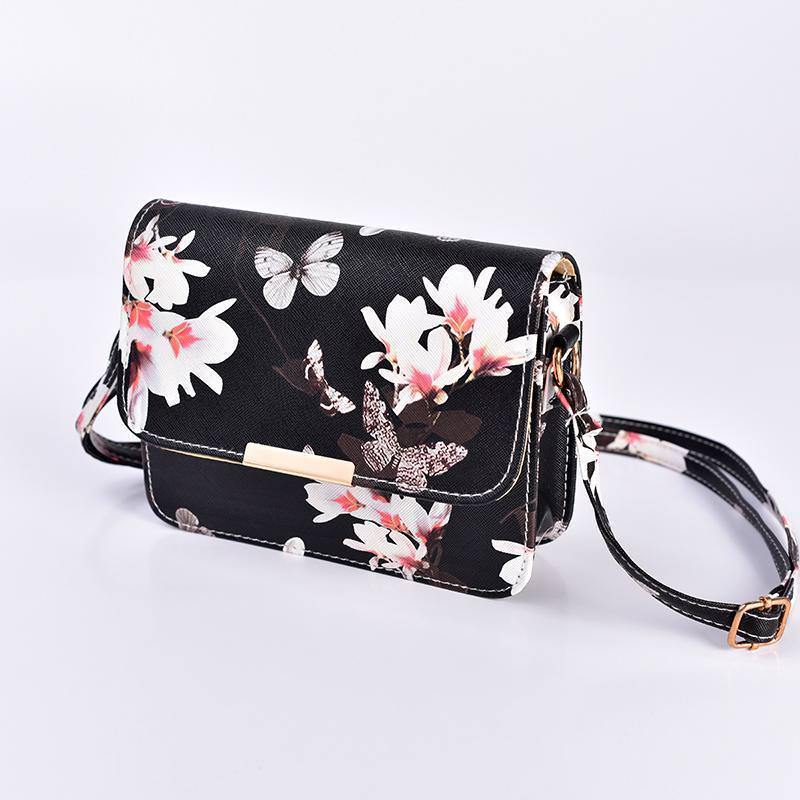 Women Floral Shoulder Bag Small Messenger Bag Retro Butterfly Clutch Tote Purse