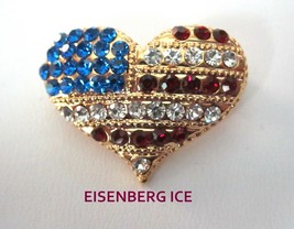 Eisenberg Ice Patriotic Flag Pattern Red, White & Blue Rhinestone Heart Pin - $24.95