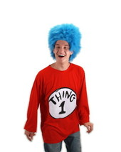 Dr. Seuss The Cat In The Hat Thing 1 Adult T-Shirt & Wig Costume Kit NEW... - $43.53