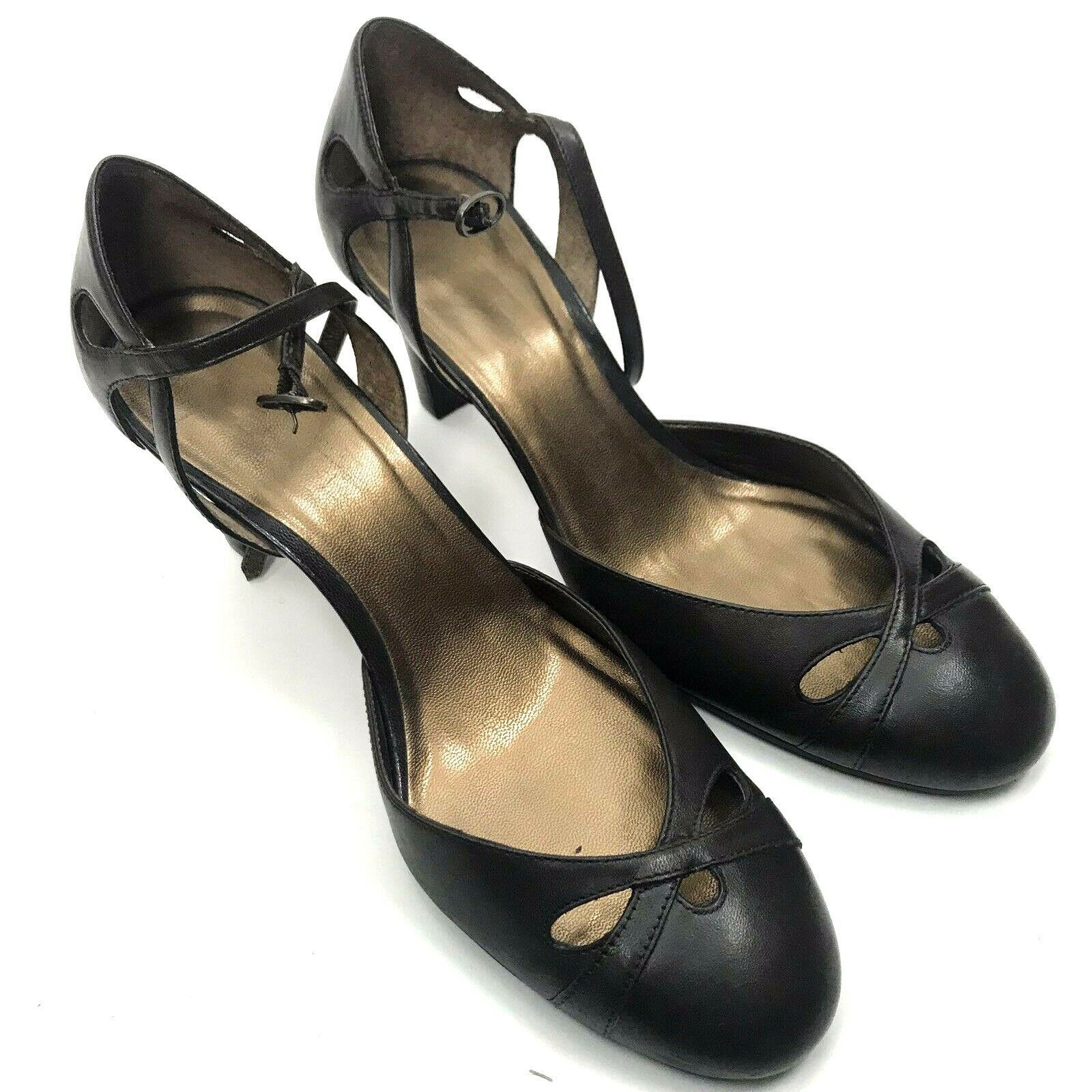 Ann Taylor Loft Womens Sz 8 Brown Leather Mary Jane Heels Pumps Straps Career - $28.01