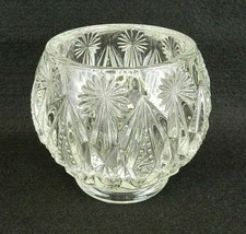 "Vintage Avon Votive Candle Holder Clear Cut Glass 4"" H Heavy - $12.86"