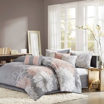 Luxury 7pc Grey White & Blush Pink Floral Comforter Set AND Decorative P... - $2.882,45 MXN+