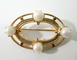 Small Gold Tone and Faux Pearl Brooch / Pin Oblong Oval - $7.99
