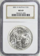 2001-D - Silver American Buffalo Commemorative Dollar - NGC MS-69 -Mint ... - $115.83