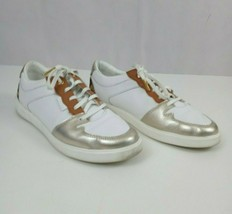 COLE HAAN Women's White Grand Court Tennis Sneakers Athletic Cheetah Gol... - $28.04