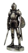 7 Inch Armored Medieval Knight with Shield and Sword Statue Figurine - $21.78
