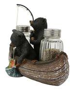Rustic Forest 2 Black Bears Fishing In Canoe Boat Salt Pepper Shakers #G... - $62.17