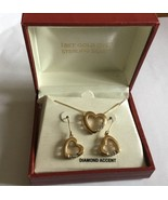 18K YELLOW GOLD Over Sterling Silver DIAMOND ACCENT Drop Heart Earrings ... - $39.15