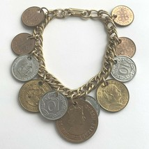 "Vintage 7"" Foreign Coin Bracelet Charm Coins Boho Gypsy Style - $19.31"