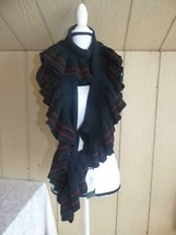 $68 Lauren Ralph Lauren Women's Rib Knit Ruffle Scarf, black/ striped,  ... - $26.73